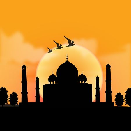 agra: silhouette view of Taj Mahal, agra, India with sunrise background