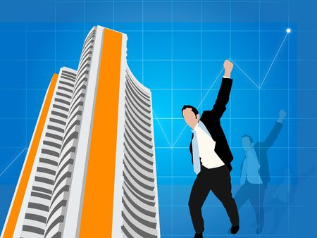bombay: business man expressing victory with stock exchange background  Stock Photo