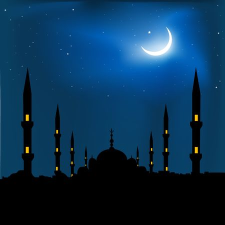 place of worship: silhouette of a mosque with crescent shape moon