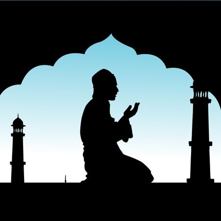 silhouette of human offering prayers at mosque  Stock Photo