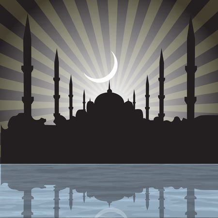 place of worship: silhouette of a mosque with rays, moon background