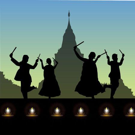 humans performing folk dance - dandiya , navratri festival