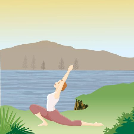 woman doing yoga with river mountain background  Stock fotó