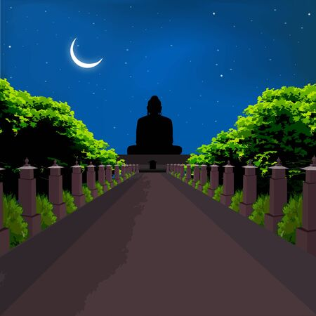 place of worship: silhouette view of buddha statue, crescent shaped moon