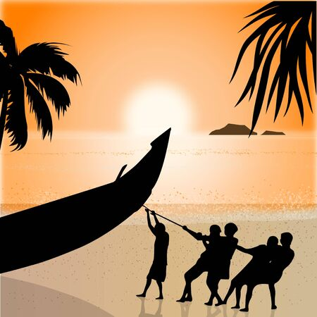 sea side: silhouette view of fishermen pulling boat, beachside  Stock Photo