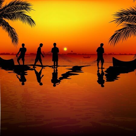 beach side: silhouette view of fishermen using nets for fishing   Stock Photo