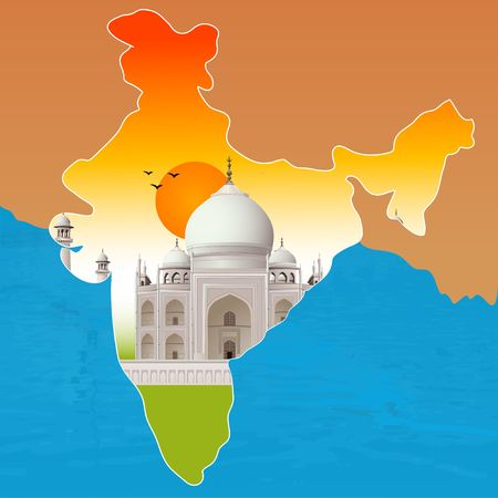 taj: Taj Mahal, agra, outline map of india  Stock Photo