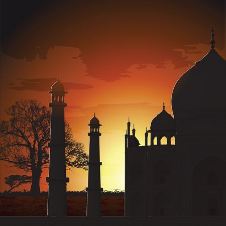 agra: silhouette view of Taj Mahal, agra, India  Stock Photo