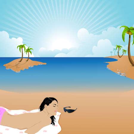 sunbath: vrouw met zonnen op een strand, tinten, kokosnoot bomen