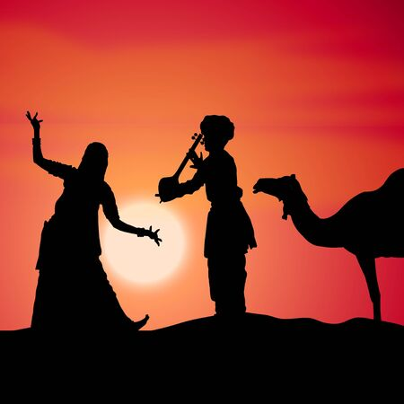 rajasthan: silhouette view of people performing folk dance and music, india�