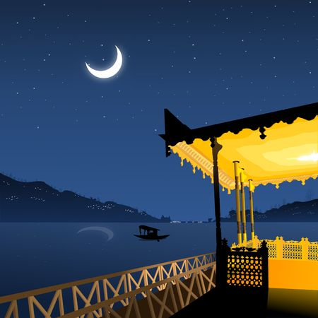 kashmir:  landscape view from boathouse, moonlight reflection, lakeside