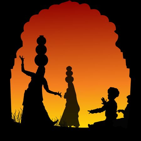 india dance: silhouette view of people performing folk dance and music, india