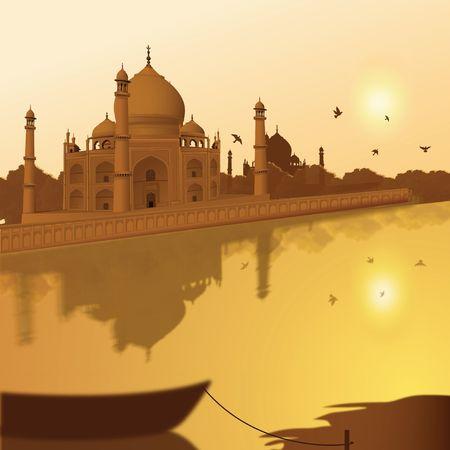 agra: Taj Mahal, agra, India, view of lake and boat