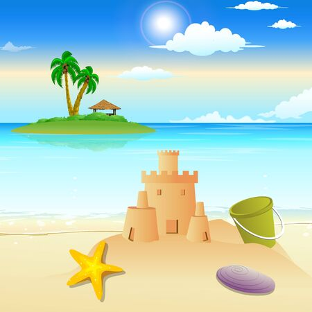 landscape view of beach, sandcastle, starfish, shells  photo