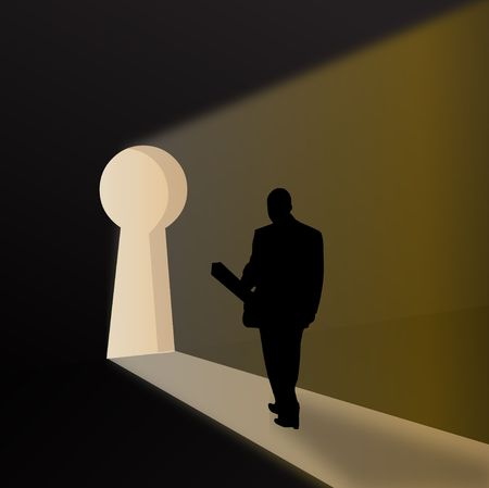 sucess: silhouette of a business man expressing key to sucess   Stock Photo