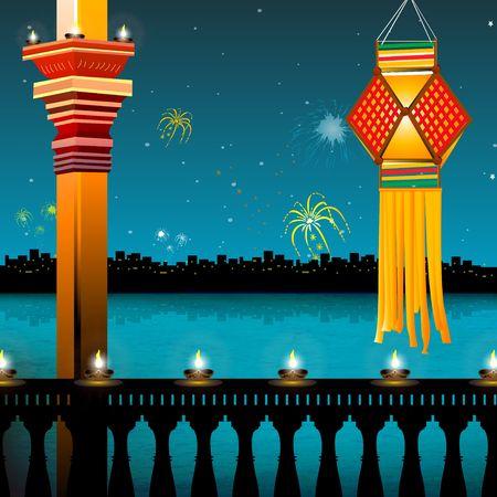 lamp lighting, lanterns, fireworks, balcony,festival - diwali  Stock Photo