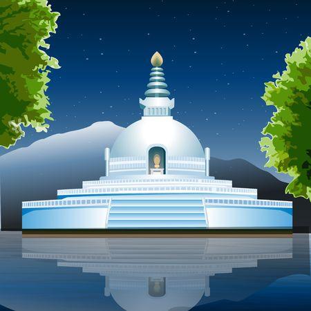 view of Lumbini, buddhist monastery, lake view
