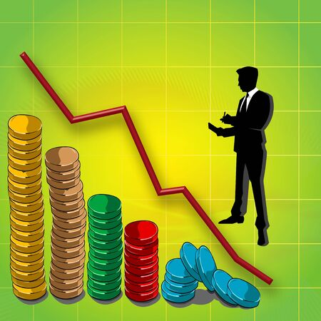 slope: graphline and bar graph of coins, business man silhouette