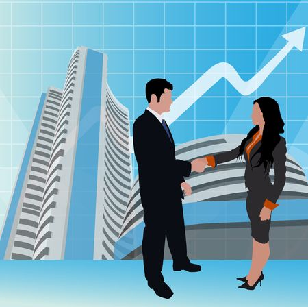 bombay: business people shaking hands, stock exchange background  Stock Photo