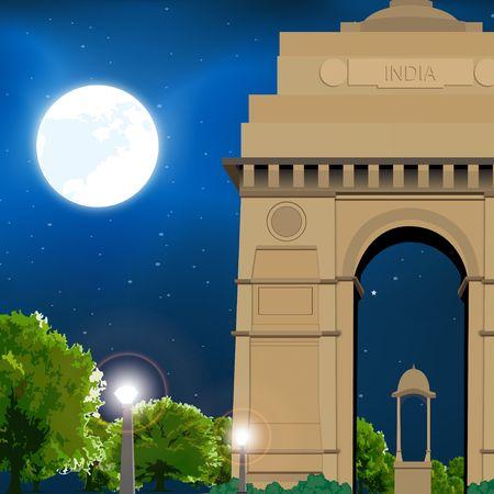 india gate: india gate, new delhi, india, moonlight, travel