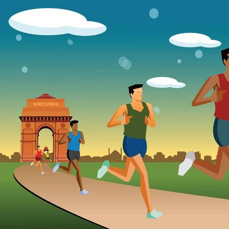 india gate: race in new delhi, india gate background  Stock Photo