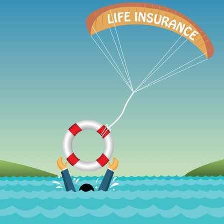 drowning: man drowning supported by tube, parachute, insurance