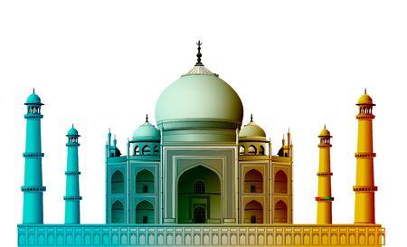agra: view of Taj Mahal, agra, India with white background