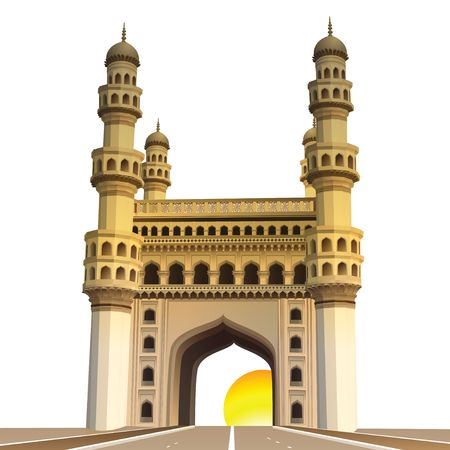 view of charminar, with sun and white background