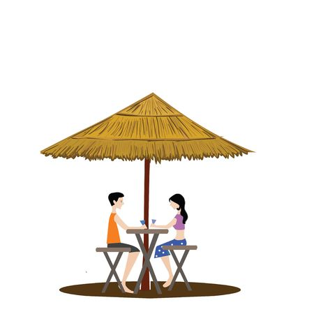 shed: couple under a shed drinking, white background