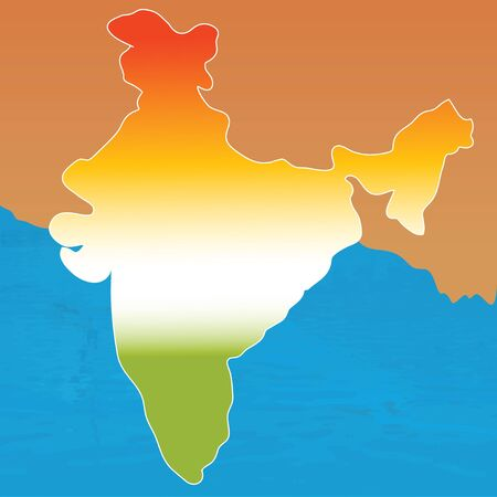 tri: outline map of india in tri colors