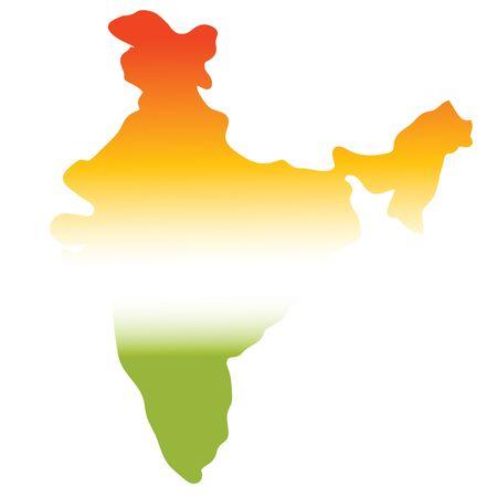 tri: map of india in tri colours, green, white, orange