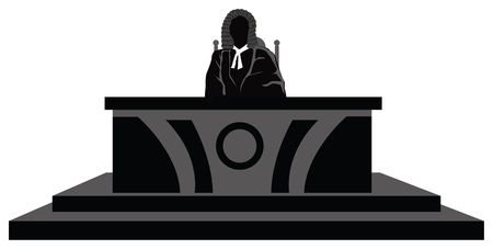 governance: view of a judge at his desk in court, decision maker