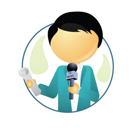 broad: journalist reporting with a mic in hand  Stock Photo
