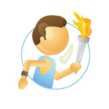 athelete running with a torch in hand  photo