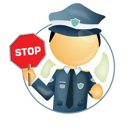 cop: traffic police with a stop sign board in hand