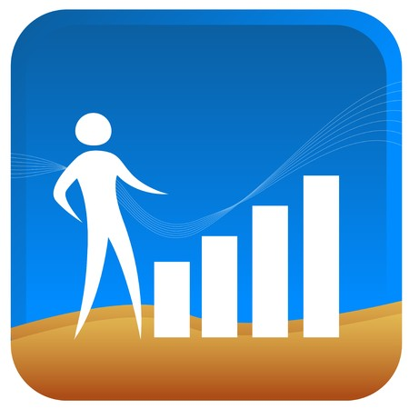 human climbing up a graph bar Stock Vector - 7596790