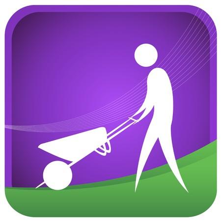 wheel barrow: human pusing a wheel barrow