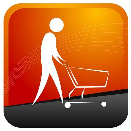 human pushing a wheel cart Stock Vector - 7596944