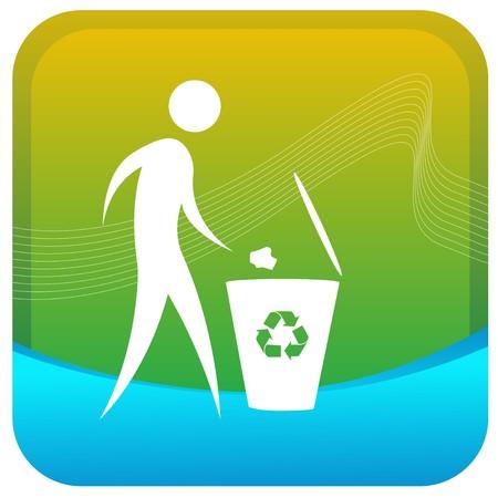 dustbin: human throwing paper in recycle bin