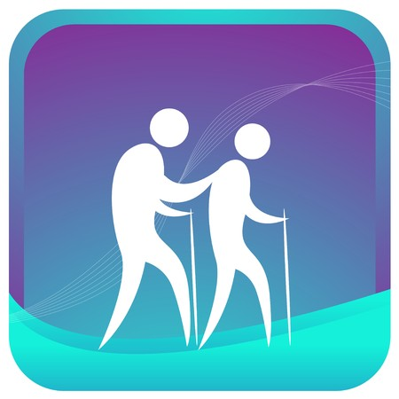 human walking using stick Stock Vector - 7596855
