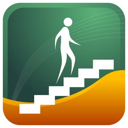 climbing stairs: uomo salire le scale Vettoriali
