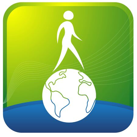 feasibility: human walking on the globe Illustration