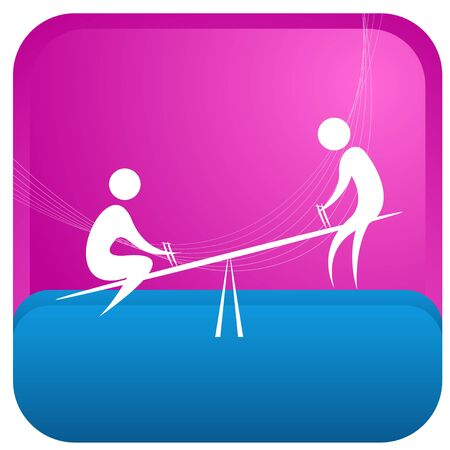 playschool: kids playing seesaw Illustration