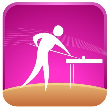 billiards: human playing snooker game Illustration