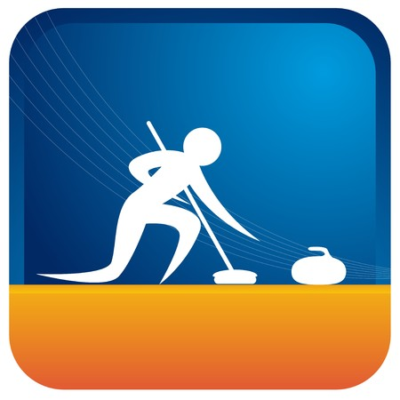 human playing the winter game curling Illustration