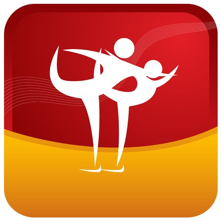 human couple skating with postures Vector