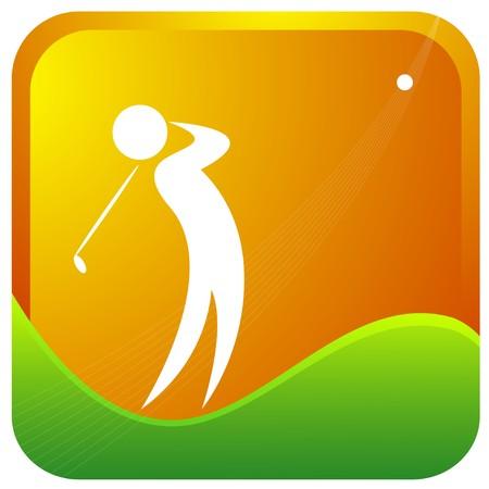 golf stick: golfista golpeando la pelota de la bola con su club