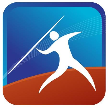 lanzamiento de jabalina: humanos en un juego de lanzamiento de jabalina  Vectores