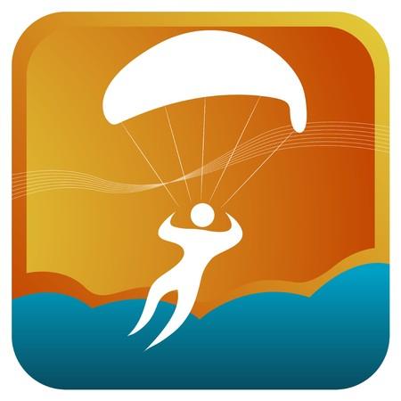 parapente: humana de vela en el aire con paraca�das