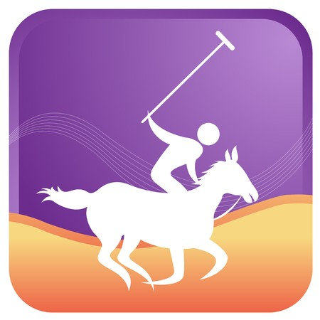 human playing polo game with  stick in hand Vector
